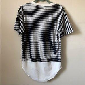 J. Crew Tops - J.Crew Navy Striped Pocket T Shirt Bodysuit Medium 28afaa8bc